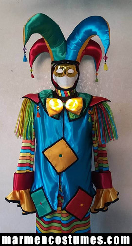 Stilt walker costume color fiesta harlequin