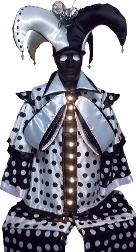 Stilt walker costume domino harlequin