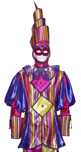 Stilt walker costume spiral harlequin