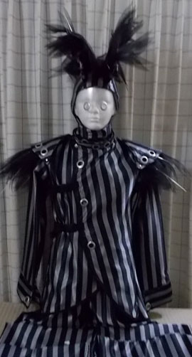 Stilt walker costume - black stripes harlequin