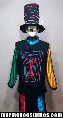 Neon lighted gentleman stilt walker costume