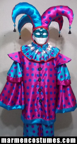 Stilt walker costume pink blue harlequin
