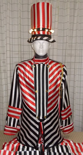 Stilt walker costume - red stripes gentleman
