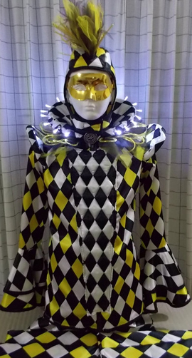 Stilt walker costume yellow harlequin